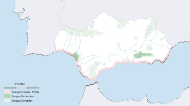 Figura 16. Ámbito del plan del litoral de andalucía